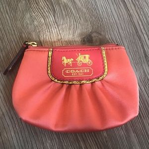 Coach Pink Coin Purse Key Chain